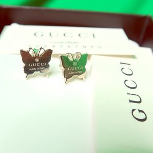 GUCCI Silver Butterfly AUTHENTIC Stud Earrings